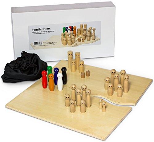 Familienbrett Systembrett Set mit 28 Figuren aus hochwertigem Holz