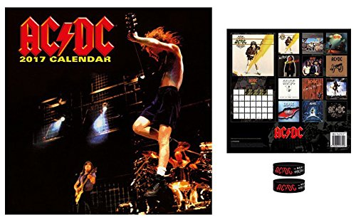 Set: AC/DC, Calendario Ufficiale 2017 (30x30 cm) E 1x Braccialetto (6x2 cm)