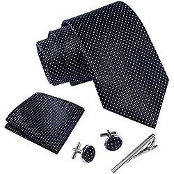 Massi Morino ® Hombre Designer corbata - caja conjunto con pañuelo, gemelos y aguja de corbata, ropa y accesorios de hombre (Negro punteado)