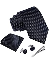Massi Morino ® Set Cravate Homme (avec Mouchoir + Boutons de Manchette + épingle à Cravate) avec Coffret Cadeau