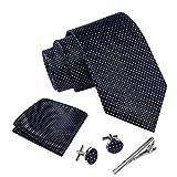 Massi Morino ® Set de corbata (caja regalo para hombres) Corbatas de hombre y pañuelos + gemelos + clip de corbata (Negro punteado)