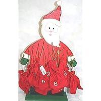 Calendario dell'avvento in legno con sacchetti in stoffa numerati h 55 cm Babbo Natale in legno-Avvento