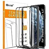 KuGi. Vetro Temperato per iPhone 11 PRO Max Pellicola, Vetro Temperato [Anti-Bolla] [Durezza 9H] Applicare Disegnato per iPhone 11 PRO Max 2019 6,5'(Nero)(2 Pezzi)