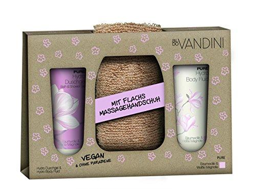 (aldoVANDINI PURE Geschenkset, Duschgel & Lotion 200ml mit Magnolienduft, inklusive Flachs Massagegurt, für Frauen, vegan - 1er Pack - 1x1 Set)