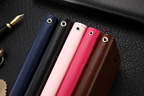 JIALUN-étui pour téléphone Pour Apple IPhone 7 Case Cover Solid Ribbon Carte Slot Support intégré Flat Open Leather Phone Shell ( Color : Blue ) Pink