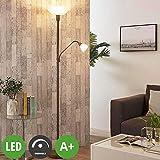 Lampenwelt LED Stehlampe 'Jost' dimmbar (Retro, Vintage, Antik) in Weiß aus Metall u.a. für Wohnzimmer & Esszimmer (2 flammig, A+, inkl. Leuchtmittel) - Wohnzimmerlampe, Stehleuchte, Floor Lamp