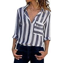 Tops Casual a Rayas con Bolsillo para Mujer Camiseta Ladies Tops Sueltas de Manga Larga Blusa