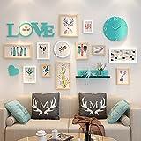 Wall-mounted Home Mall- Marco de Fotos Modernos con Reloj | Marcos de Fotos Combinados de Pared | para la Sala de Estar del Corredor | Conjunto de 12 (Color : Color#3)