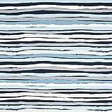 Fabulous Fabrics Baumwolljersey Stripes – blau/grau —