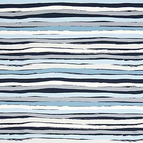 Fabulous Fabrics Baumwolljersey Stripes - blau/grau - Meterware ab 0,5m - Oeko-Tex-Standard 100 - zum Nähen von Tops, Kleider und Röcke