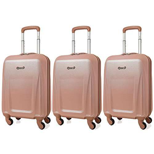 5 Cities Lightweight ABS Hard Shell Carry On Cabin Hand Luggage Suitcase with 4 Wheels, Approved for Ryanair, Easyjet, British Airways, Virgin Atlantic and More, Rose Gold (3 x Rose Gold)