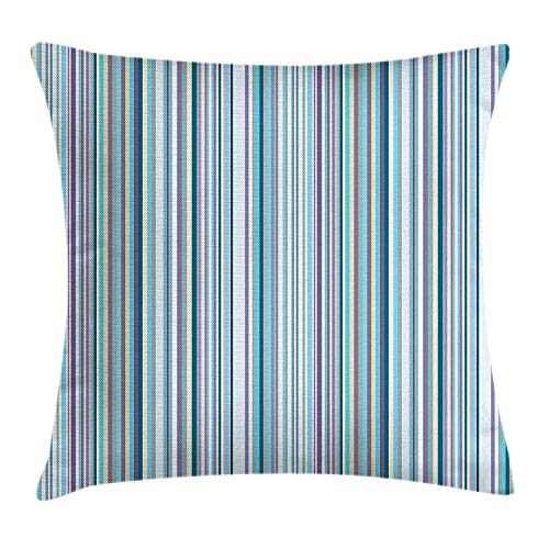 ZTLKFL Striped Throw Pillow Cushion Cover, Simplistic Pattern with Vertical Stripes in Pastel Colors Modern Design, Decorative Square Accent Pillow Case, 18 X 18 inches, Blue Lavander Cream