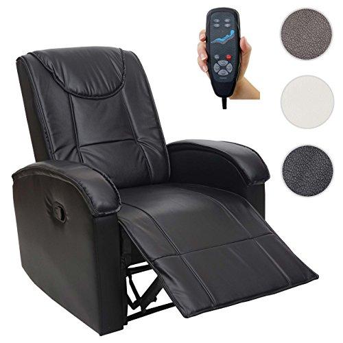Massage-Fernsehsessel HWC-T964, Relaxsessel Sessel, Heizfunktion ~ schwarz