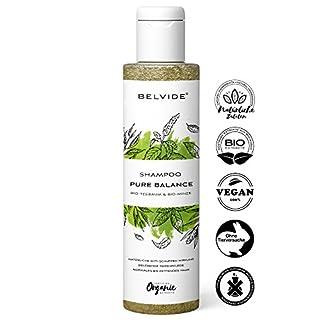 BELVIDE® Natur Shampoo für normales und fettiges Haar mit Bio Teebaumöl und Bio Minze ohne Silikon · 100% vegan und tierversuchsfrei · 200 ml