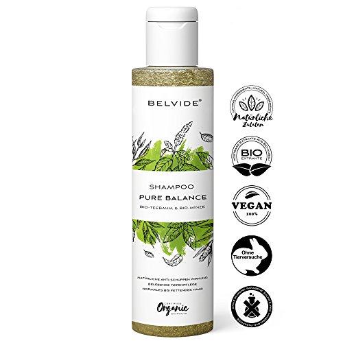 BELVIDE Natur Shampoo für normales und fettiges Haar mit Bio Teebaumöl und Bio Minze ohne Silikon · 100% vegan und tierversuchsfrei · 200 ml