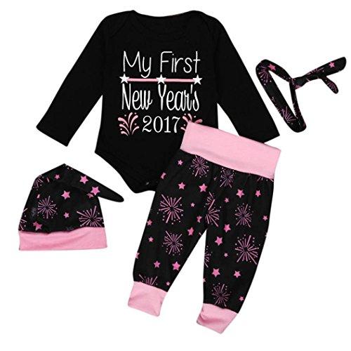 Bekleidung Longra 1SET Säugling Baby Junge Mädchen Kleidung Strampler + Hosen Leggings+ Hüte + Stirnbänder Silvester Outfits Neujahr Kleidung Outfits (0-18 Monaten) (65CM 3Monate, Black)