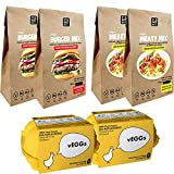 Multi-Packs > Sustitutos de Carne y Sustitutos de Huevo : vEGGs Sustituto de Huevo 100% Vegano basado en plantas | Mezcla de Carne Vegana Instantánea | Mezcla de Hamburguesas Veganas Instantánea (PACK DE 6)