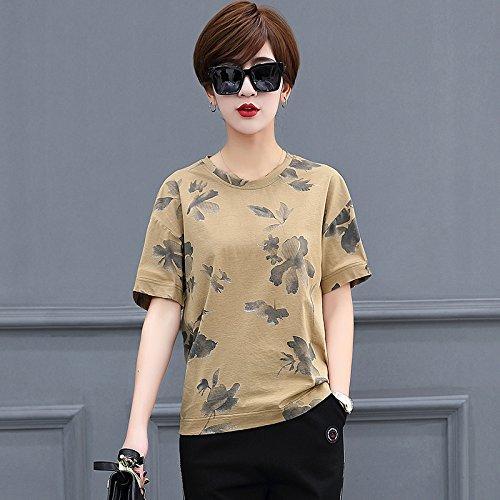 MOMO566225 T-Shirt à Manches Courtes Femme 2018 été lâche Simple Impression Manteau col Rond Coton mercerisé Chauve-Souris T-Shirt,Carte lumière,XXL