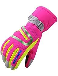 Bwiv Ski-Handschuhe Kinder/Jugend/Erwachsene Winterhandschuhe Wasserdicht für Berufs Skifahren