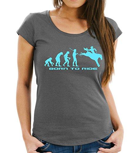 Siviwonder Pferd Evolution Rodeo Reitsport - Reiten Pferde - Women Girlie T-Shirt Dark Grey L -38 (Rodeo T-shirts Für Frauen)