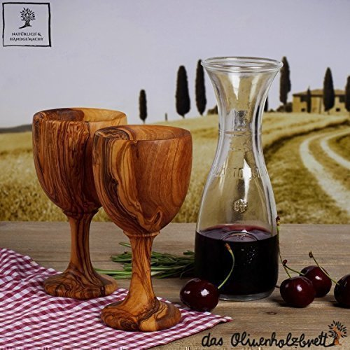 1 Weinkelch - Becher- aus Olivenholz mit Stiel ca. 14cm (1 Stück)