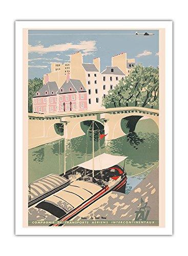 Paris - Pont Neuf, Seine - TAI Luftverkehrsgesellschaft - Vintage Retro Fluggesellschaft Reise Plakat Poster von Toni J. Mella c.1950 - Premium 290gsm Giclée Kunstdruck - 30.5cm x 41cm