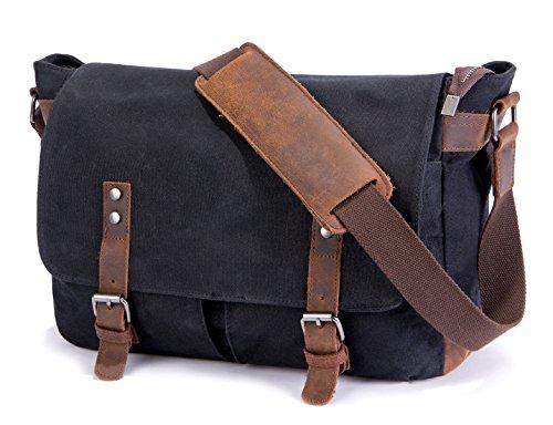 SUVOM Mens Messenger Bag, Original Leder Leinwand Messenger Bag, wasserdichte Laptop Messenger Bag für 14 Zoll Laptop, Vintage Satchel Briefcase Cross Body Shoulder Tasche für den täglichen Gebrauch, -