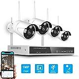 OWSOO Sicherheits überwachungssystem 4CH NVR + 4 Kameras Drahtloses NVR-Kit Nachtsicht Bewegungserkennung 1.0MP 720P HD WiFi Überwachungskamera für den Heimgebrauch Monitor P2P Alarmauslöser