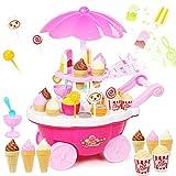 Buyger 39pcs Eiswagen Eiscreme mit Musik und Licht Trolley Ice Süßigkeiten Rollenspiel Spielzeug Vortäuschen Spiel (Rosa)