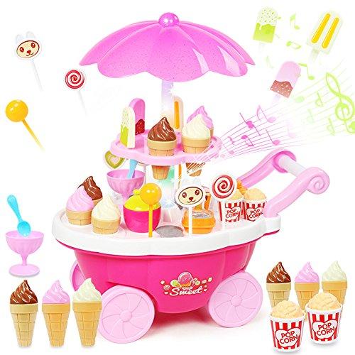 Buyger 39pcs Mini Eiscreme Trolley Spielzeug mit Sound und Licht EIS-Party Lebensmittel Küchenspielzeug Rollenspiele Geschenk Spielzeug für Kinder Jungen Mädchen (Rosa) -