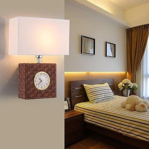 BBSLT Corridoio della camera da letto minimalista americano-LED Wall Lampada parete lampada lampada da comodino (Antico Brown Parete Specchio)