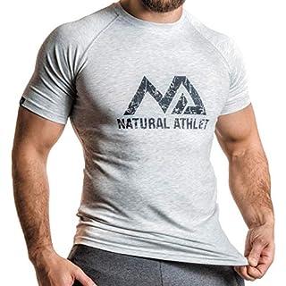 Natural Athlet Men's Short Sleeve Shirt - Grey - Medium