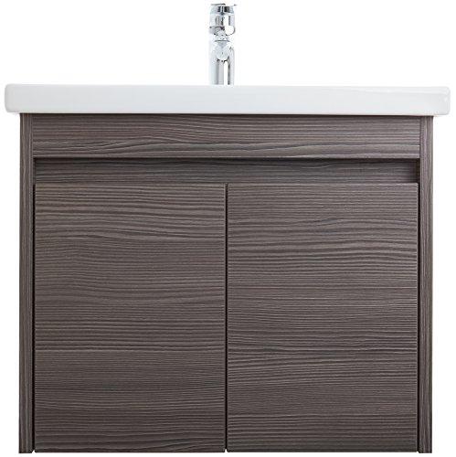 Gäste-WC Waschplatz RAVENNA Badmöbel Set mit 1 Tür | 60 cm x 55 cm x 45 cm (BxHxT) | Hochwertiges Keramik-Waschbecken | Waschtisch-Unterschrank in Holzdekor Grey Brown | Griffmuscheln | Soft-Close Funktion | Montagefertig vormontiert | Modernes Design | Hohe Schmutzabweisung | Wasserabweisend | Kostenloser Versand und Rückversand | Sofort lieferbar