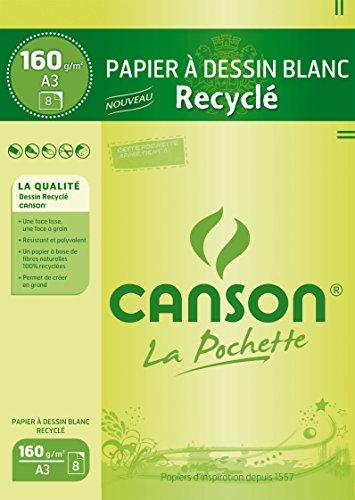 CANSON 200002765 Zeichenpapier Recycling, DIN A3, 160 g/qm weiß