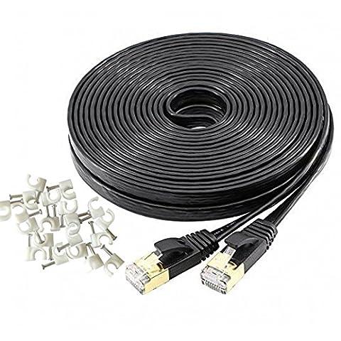 Hanyun Cat7double blindage (SSTP) 10Gigabit 600MHz réseau LAN Ethernet câble plat haute vitesse Patch Cord–conçu avec du Cuivre Plaqué et blindé Connecteurs RJ45 82 ft / 25 Meters noir