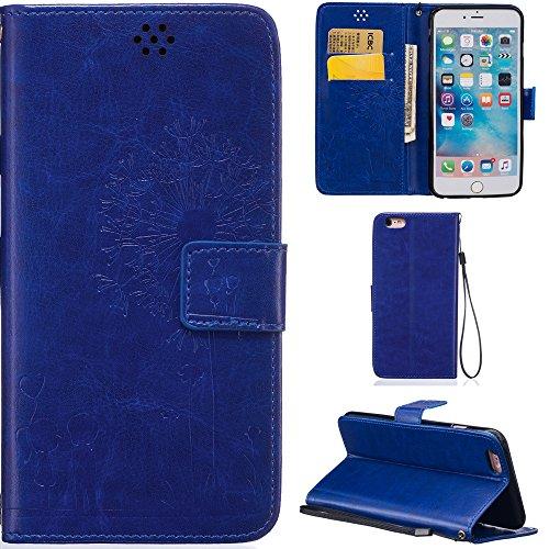 Ooboom® iPhone 6S/6 Plus Hülle Prägen Löwenzahn Liebe PU Leder Tasche Schutzhülle Cover Case Wallet Brieftasche Standfunktion Magnetverschluss für iPhone 6S/6 Plus - Kaffee Blau