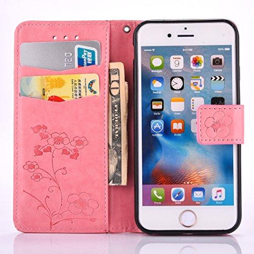 EUWLY Portafoglio Cover per iPhone 6/iPhone 6s (4.7), Retro Luxury Pure Color Flip Case Cover per iPhone 6/iPhone 6s (4.7) in Pelle PU Custodia Cover [Shock-Absorption] Protettiva Portafoglio Cover  Fiore Foglie,Rosso