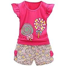 Baby sets Koly_I vestiti delle neonate dei capretti del bambino di 2PCS si ispirano i vestiti dei pantaloni dei pantaloni dei pantaloni di Lolly + Short