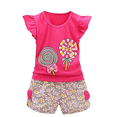 Rawdah 2PCS Toddler Kids Baby Girls Outfits Lolly T-shirt Tops Ensembles de pantalons courts (2~3 ans, rose vif)
