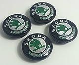 4x Skoda grün Logo Emblem 65mm Badge Mitte Hub Kappen Staub Abdeckungen VRS Sport Performance Octavia Yeti Fabia Superb Citigo Roomster Mission Rapid und weitere Modelle