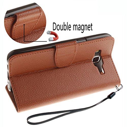 Samsung Mobiltelefon case Magnetisch PU-Leder Geldbörse Flip Wallet Cover in Book Style Stand Case für Samsung Galaxy J7 Prime/on7 Braun Braun
