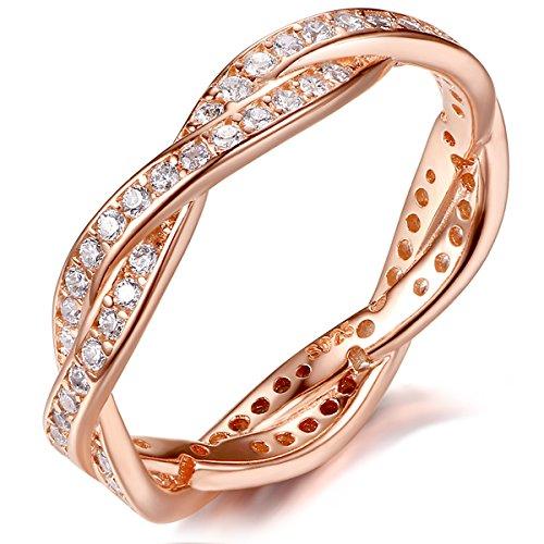 Presentski Zirkonia 925 Sterling Silber Rose Gold Hochzeit Ring für Ewigkeit Frauen Damen Mädchen (Rose Blume Ring)
