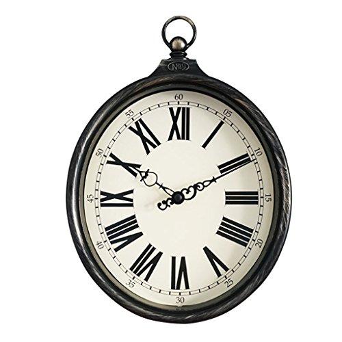 horloge murale 8 Pouces Vintage, Vieux Fer Imitation Ovale Anneaux Salon Chambre Quartz Horloge