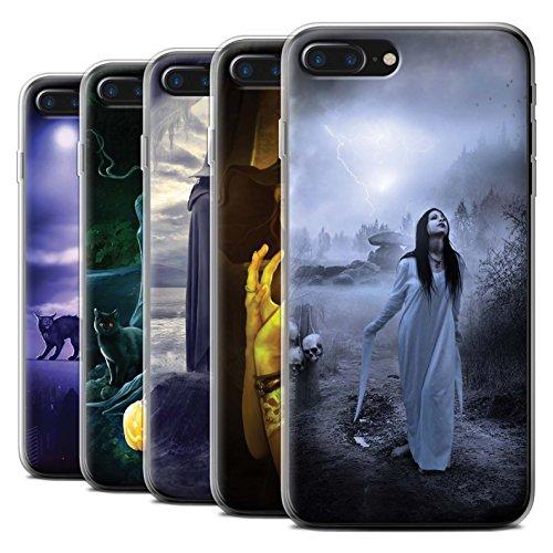 Officiel Elena Dudina Coque / Etui Gel TPU pour Apple iPhone 7 Plus / Maestro/Sorcier Design / Magie Noire Collection Pack 6pcs