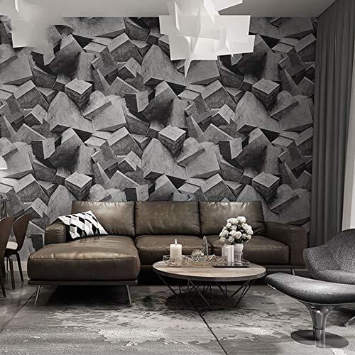LFBIZHI Distressed Industrial Style 3D Wallpaper Zusammenfassung Gestapelte Cement Block Grau Stein Tapeten Für Bar & Bekleidungsgeschäft & Teegeschäft 5,3㎡ 670306 -