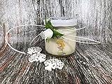 Bomboniera o sacchetto Cresima (maschio o femmina) - 25 o più vasetti confezionati (scritta sull'etichetta, sacchetto e confetti) con candele di cera di soia e oli essenziali confermazione sacramento