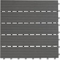 Gartenfreude EVERFLOOR WPC marca (madera/mezcla de plástico) baldosas de patio perfil macizo gris oscuro, 6 piezas, 40 x 40 cm (aprox. 0,96m2)