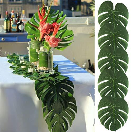 Minjinkea 36 große künstliche Tropische Palmenblätter, 35 x 30 cm, Hawaiianisches Luau, Party, Dschungel, Strand, Dekoration für Tischdekoration, Zubehör