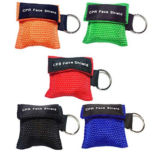 Beetest 5 PCS Wegwerf-CPR-Masken-Gesichtsschutz-Erste-Hilfe-Maske mit Einwegventil-Schlüsselring für die Erwachsenen und Kinder, die einfach sind, Mischfarbe zu tragen