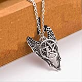 ITS - New Supernatural Necklace Castiel Angel Wings Combo Charm Pentagram Silver Pentacle Pendant necklace